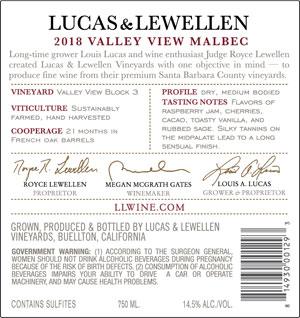 2018 Lucas & Lewellen Malbec back label