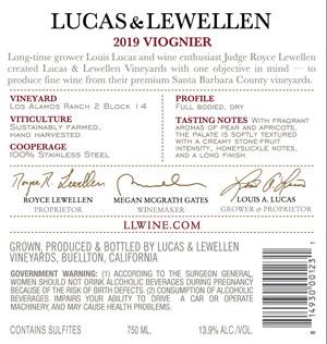 2019 Lucas & Lewellen Viognier back label