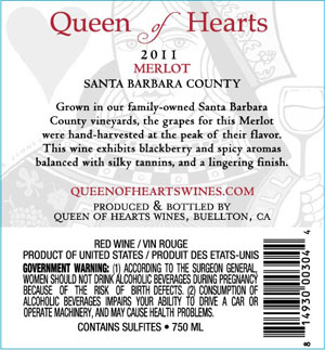 2011 Queen of Hearts Merlot