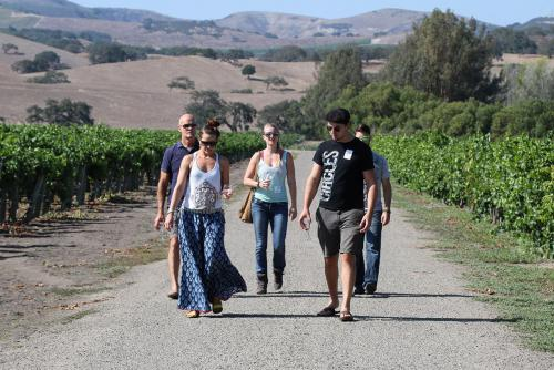 A photo of Wine club members visiting Los Alamos Vineyard