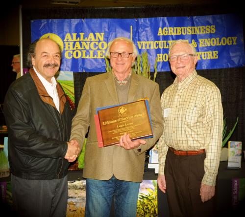 Katcho Achadjian, Louis Lucas, and Royce Lewellen accepting Louis Lucas lifetime achievement award