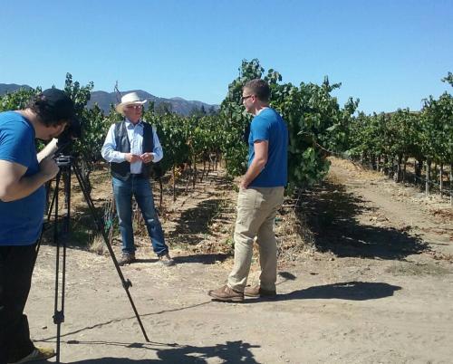 Louis Lucas giving an interview in the vineyard