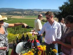 A photo of Wine Club members tasting at Valley View Vineyard
