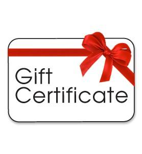 A photo of a gift certificate