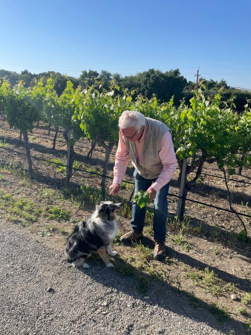 Louis Lucas with his dog Novi at Valley View Vineyard
