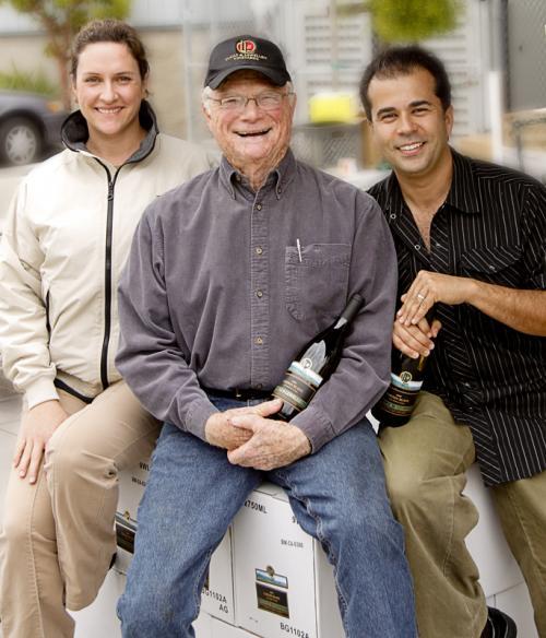 Winemaker Megan McGrath Gates, Royce Lewellen, and author Gabe Saglie