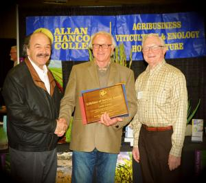 Katcho Achadjian, Louis Lucas, and Royce Lewellen accepting Louis Lucas lifetime achievement award