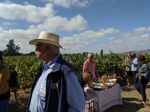 Louis Lucas at Goodchild Vineyard with group