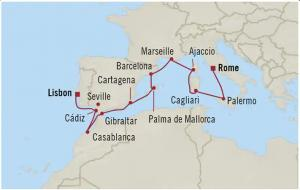 Lisbon to Rome wine cruise map